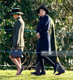 Lady Penny Brabourne, Alexandra Knatchbull and Prince Philip, Duke of Edinbugh leave St. Mary Magdalene Church, Sandringham after attending Sunday service on January 12, 2014 near King's Lynn, England.