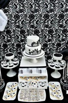 Black & White Dessert Tablescape