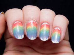 Melted Rainbow Nail Art with the Seche Perfectly Poised Collection via @Chalkboard Nails
