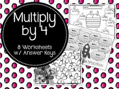 These 8 worksheets are a great way to help your students review their 4 Times Tables.  Answer Keys are included!!