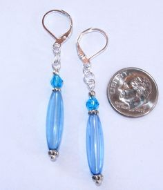 Blue EARRINGS Bi Cone Crystal STICK Tube Silver Plated LEVER BACK Artisan #BusyBeeBumbleBeads #DropDangle