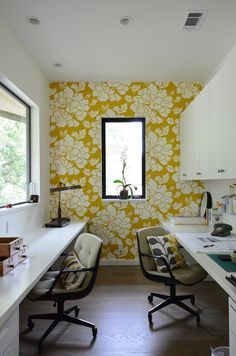 Bright home office. Love this workspace. Perfect his and hers desks.
