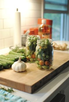 We made these for years until the brine recipe was lost in a move. So excited! Pickled Green Tomatoes and Cucumbers