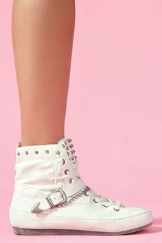 Alexander Spiked Sneaker in White