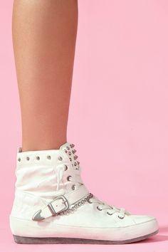Alexander Spiked Sneaker in White