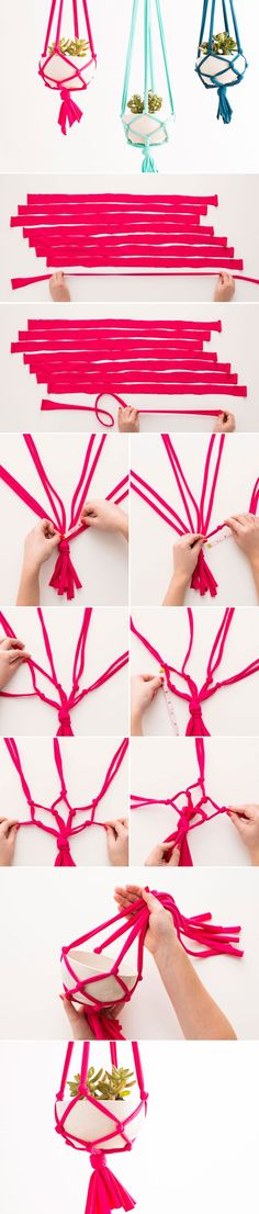 DIY your own macrame hanging vase with this tutorial—Love the bright colors!