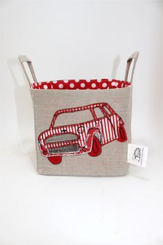 Mini Cooper fabric storage basket-- would be great for William's room storage