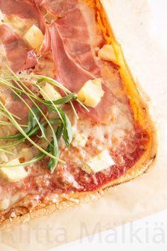Hirsitalon keittiössä: Kananmunapohjainen pizza Hawaiian Pizza, Food, Eten, Meals, Diet