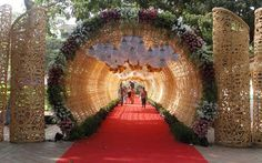 Best site to plan a modern Indian wedding, WedMeGood covers real weddings… Wedding Gate, Wedding Entrance, Wedding Mandap, Entrance Decor, Desi Wedding, Wedding Events, Bride Entry, Gate Decoration, Entrance Design