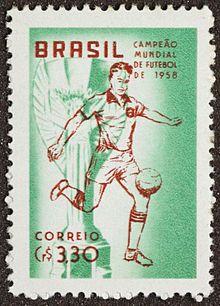 Selos do Brasil - 1940-1959 – Wikipédia, a enciclopédia livreSelo Comemorativo do Campeonato Mundial de Futebol de 1958 (Copa do Mundo de 58) - Verde e Vermelho.