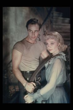 Marlon Brando & Vivien Leigh in a colour print from A Streetcar Named Desire, 1951.