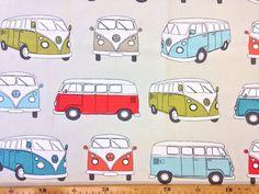 Stoff Autos - Clarke & Clarke campervan bunte Busse - ein Designerstück…