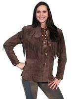 A Scully Ladies' Leather Suede Jacket: Western Flirty Fringe Chocolate S-2XL