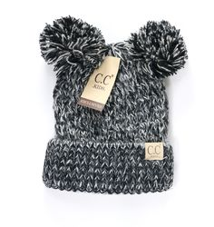 Finally, a CC Beanie to adorn the cutest member of your family! These adorable beanies feature a knit design with a double pom accent! 100% acrylic