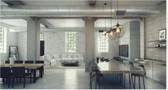 Warehouse conversion, concrete, industrial chic