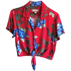 Vintage Caribbean Joe crop top tie red Hawaiian Shirt Size large... ($28) ❤ liked on Polyvore featuring tops, hawaiian shirt, tie crop top, red hawaiian shirt, red collar shirt and short-sleeve shirt