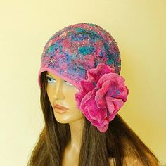 Colorful hat felted Fancy cap with two brooches Silk от ZiemskaArt