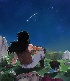 Gajeel Redfox and Pantherlily gazing at shooting star~ Fanart by Rusky-boz