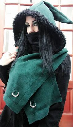 Pagan Fashion, Mori Fashion, Wiccan Clothing, Autumn Witch, Hippie Goth, Winter Cape, Witchy Outfit, Moon Goddess, Triple Goddess