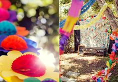 A colurful fiesta style photobooth with bunting fabric backdrop