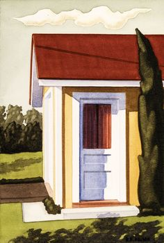 Artwork by American contemporary artist Kenton Nelson Fantasy Landscape, Landscape Art, Landscape Paintings, Grant Wood, The New Yorker, American Scene Painting, Watercolor Paintings, Watercolors, Frida Kahlo