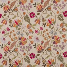 Wilderness Fabric from the Bohemian Romance Collection Mulberry Home. A detailed floral design, embroidered in multi-coloured thread on a linen ground. Flowery Wallpaper, Flower Phone Wallpaper, Pattern Wallpaper, Mulberry Fabric, Mulberry Home, Drapery Fabric, Fabric Decor, Linen Fabric, Curtains