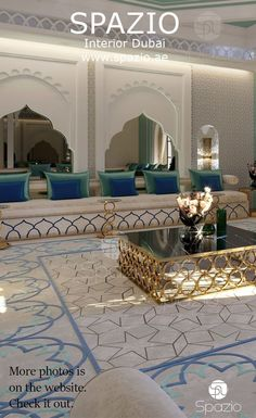 Home Decorative majlis interior design in mix of white and blue colors. The perfect combination of arabic traditional styles and modern trends Moroccan Home Decor, Moroccan Interiors, Modern Moroccan, Moroccan Bedroom, Moroccan Lanterns, Moroccan Tiles, Home Room Design, Interior Design Living Room, House Design