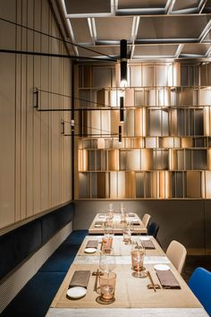 FEEL is a small, compact and decidedly intimate restaurant. The interpretation of a narrow space translates into the creation of a rather homogeneous. Banquette Seating Restaurant, Dining Buffet, Restaurant Lighting, Student House, Pizza Restaurant, Wall Decor, Popup, Joinery, Architects