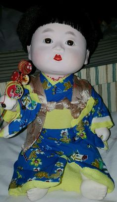 Vintage Ichimatsu Japanese Doll Toy Collectible With Glass Eyes In Box