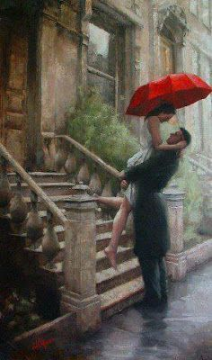 Romanticismo: NEL TUO SGUARDO   (Now, if I ever attempted to do something romantic like this, you may be sure I'd poke the guy's eye out with the umbrella).