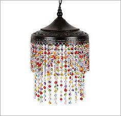 Lámpara con cristales de colores
