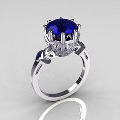 Modern Vintage 950 Platinum 3.0 Carat Blue Sapphire Diamond Solitaire Wedding Ring R303-PLATDBS