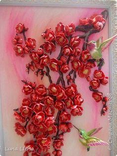 Картина панно рисунок Лепка Дикая слива Мэйхуа и путь Мастерства Тесто соленое фото 4