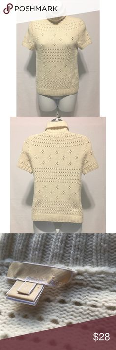 """Michael Kors Ivory Cashmere Turtleneck Sweater S • Michael Kors Ivory Open Knit Accent Sweater • Turtleneck Style • Short Sleeve Length • Size S • 100% Cashmere • Very Good Condition • Bust: 30"""" Waist: 28"""" Hips: 30"""" Shoulder: 14"""" Sleeve: 8"""" Length: 22"""" Michael Kors Sweaters Cowl & Turtlenecks"""