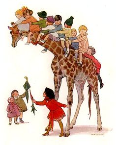 Margaret W. Tarrant - Zebra with Children Children's Book Illustration