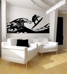 Surfer and Ocean Wave Vinyl Wall Decal - Shane's room