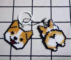Corgi head and tail Perler Beads, Perler Bead Art, Fuse Beads, Perler Bead Designs, Hama Beads Patterns, Beading Patterns, Pixel Beads, Pixel Art Templates, Pixel Pattern