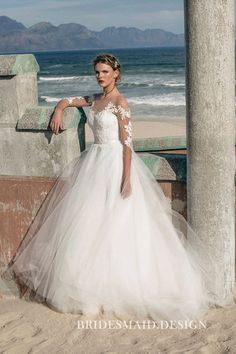 0ec21f65fe2 Timeless Ivory Lace and Tulle Illusion Neckline Half  SleevesBridalBallGown  Sheer Wedding Dress