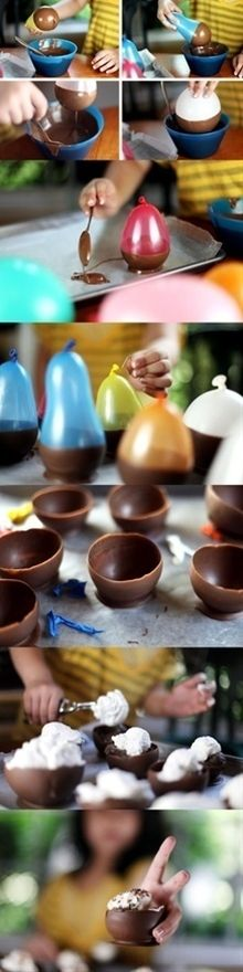 Chocolate bowls - http://candy.about.com/od/otherchocolaterecipes/r/Chocolate-Bowls.htm