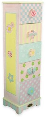 Teamson Fantasy Fields 5-Drawer Chest in Crackled Rose