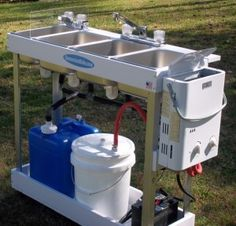 Large Propane Sink, 3 Compartments and Hand Wash Station