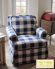 Cozy Cottage Slipcovers: Blue and White Buffalo Check Slipcovers Blue White Decor, Slipcovers For Chairs, Blue Home Decor, Blue Christmas Decor, Blue And White, Custom Slipcovers, Buffalo Check Chair, Blue Decor, Blue Armchair