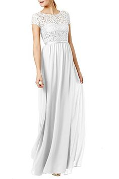 Ssyiz Womens Vintage Floral Lace Cap Sleeve Long Chiffon Bridesmaid Evening Dress  Can be customized  16 White -- See this great product. Maxi Dress Wedding, Wedding Dress Sizes, Affordable Wedding Dresses, White Wedding Dresses, Bridal Dresses, Bridesmaid Dresses, Party Dresses, Prom Dress, Plus Dresses
