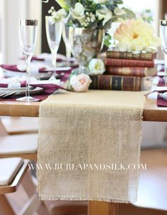 Buy 12 x 76 inches burlap table runners for rustic weddings and events at discount rates. Call for wholesale burlap table runners.