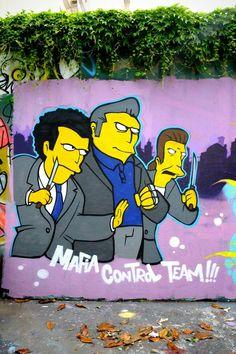"""""""gros tony (les simpsons)"""" - Street art - paris 19, rue henri nogueres (juin 2013)"""