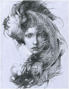 Fish by DalfaArt on DeviantArt Portrait Art, Portraits, Arte Cyberpunk, Beautiful Drawings, Fantastic Art, Aesthetic Art, Art Inspo, Art Reference, Character Art