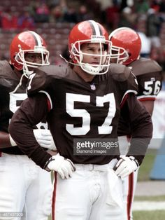 Linebacker Clay Matthews of the Cleveland Browns watches warm ups prior to a game against the Denver Broncos on November 1993 at Cleveland Municipal Stadium in Cleveland, Ohio. Cleveland Team, Cleveland Browns History, Cleveland Browns Football, Pittsburgh Steelers, Dallas Cowboys, Go Browns, Browns Fans, Football Memes, Football Cards