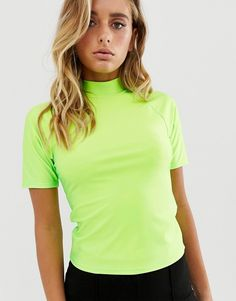 DESIGN fitted top with high neck in neon green 22719b49f