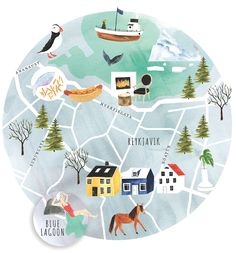 my latest map illustration for style at home magazine - destination . . . ICELAND :)  emiliesimpson.com