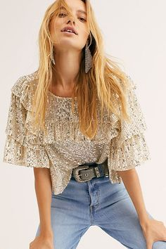 Dance Floor Top by Free People, Silver, Look Disco, Sequin Jeans, Sequin Top, Sparkly Outfits, Summer Outfits, Chic Outfits, Fashion Outfits, Fall Fashion, Sequin Outfit